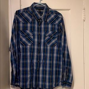 Kenneth Cole Blue Plaid Button Up Size XL
